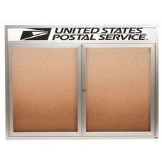 2 Door Indoor Illuminated Enclosed Bulletin Board with Header and Aluminum Frame - 48