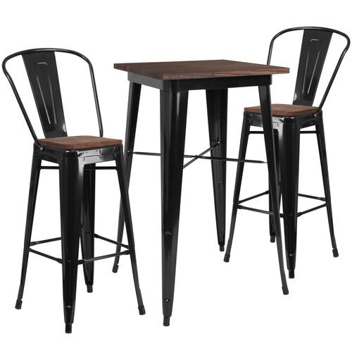 """23.5"""" Square Black Metal Bar Table Set with Wood Top and 2 Stools"""