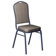 Embroidered Biltmore Ashley Fabric Upholstered Crown Back Banquet Chair - Silver Vein Frame