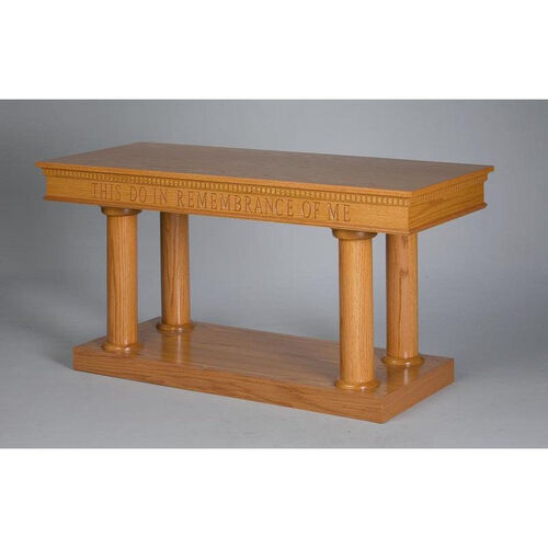Our Stained Red Oak Open Communion Table with Tapered Column Legs is on sale now.