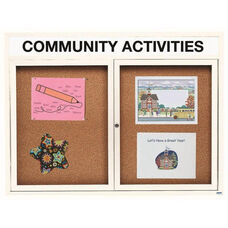 2 Door Indoor Enclosed Bulletin Board with Header and White Powder Coated Aluminum Frame - 48