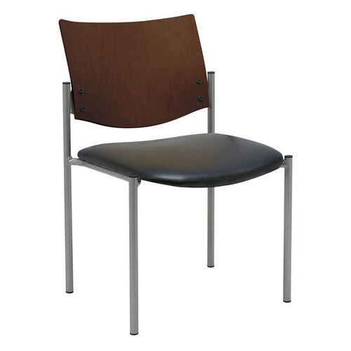 1300 Series Stacking Armless Guest Chair with Chocolate Wood Back -Vinyl Seat