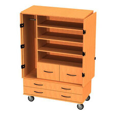 Transporter Storage Cabinet with 4 Drawers, 3 Adjustable Shelves, Divider & Garment Rod with 2 Locking & 2 Non-Locking Casters - 48