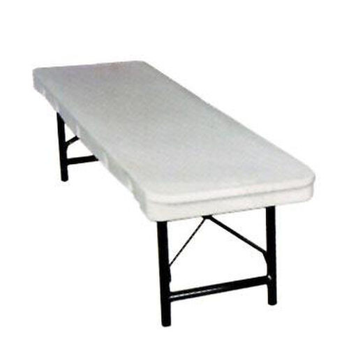 Our Commercialite White Polyethylene Bench with Locking Legs - 96