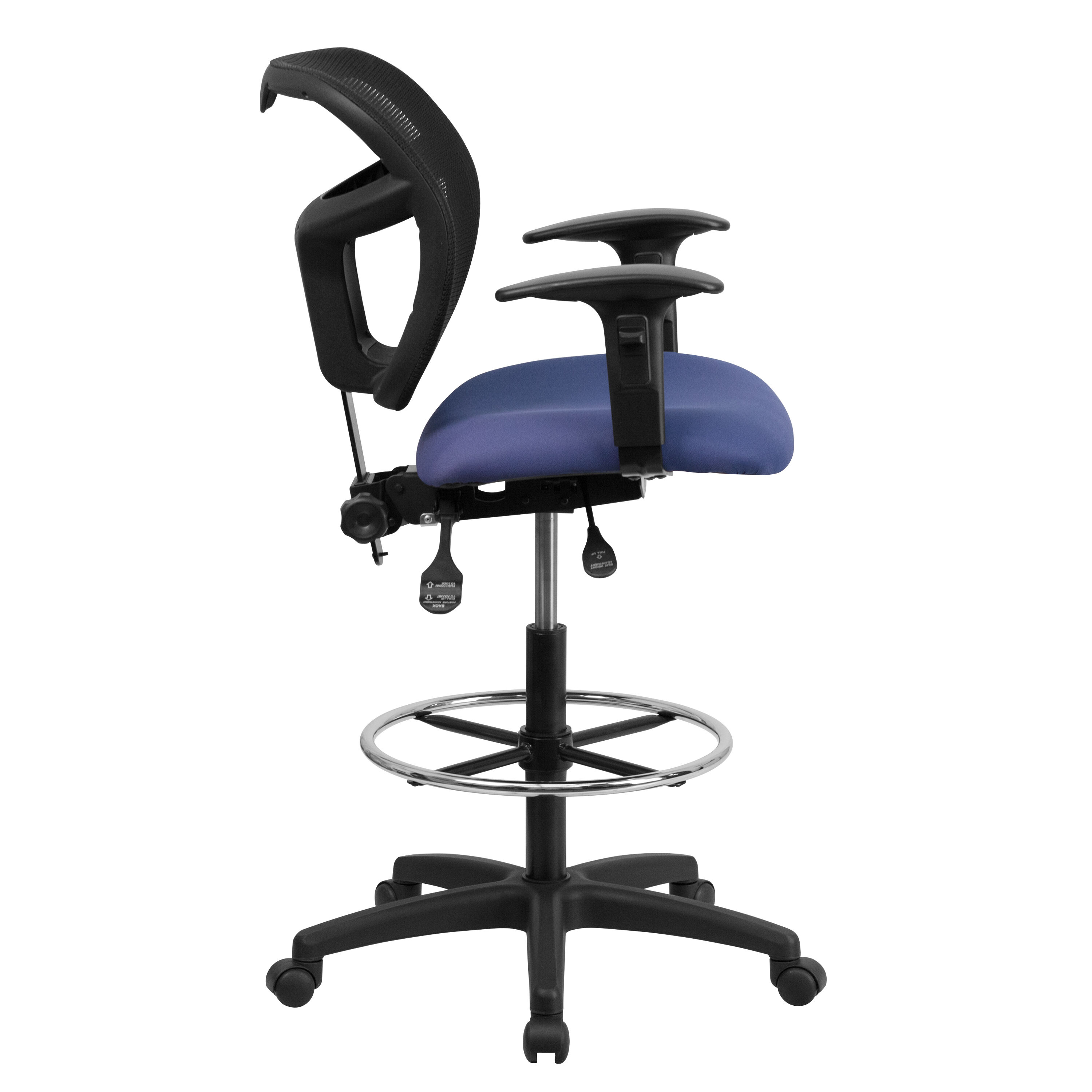 Superieur ... Our Mid Back Navy Blue Mesh Drafting Chair With Back Height Adjustment  And Adjustable Arms ...