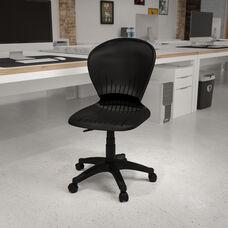 Mid-Back Black Plastic Swivel Task Office Chair