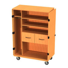 Transporter Storage Cabinet with 2 Drawers, 2 Adjustable Shelves, Divider & Garment Rod with 2 Locking & 2 Non-Locking Casters - 48