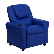 kid lounge furniture children's contemporary blue vinyl kids recliner with cup holder and headrest churchchairs4less classroom seating lounge