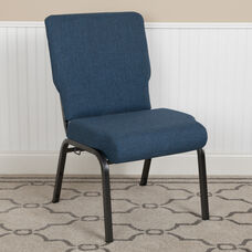 Advantage 20.5 in. Blue Basket Weave Molded Foam Church Chair with Book Rack