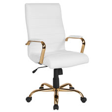 High Back White Leather Executive Swivel Office Chair with Gold Frame and Arms