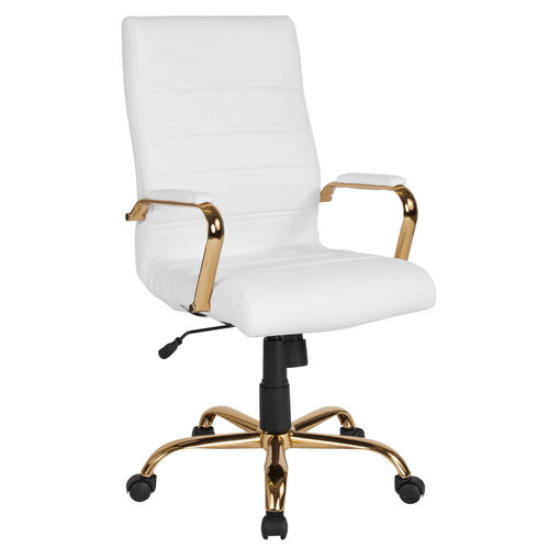 Our High Back White Leather Executive Swivel Office Chair with Gold Frame and Arms is on sale now.