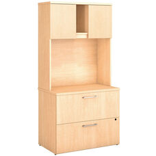 300 Series Lateral File Cabinet with Hutch - Natural Maple