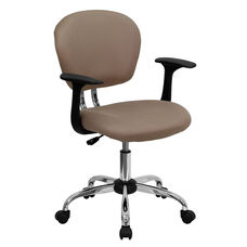 Mid-Back Coffee Brown Mesh Swivel Task Chair with Chrome Base and Arms