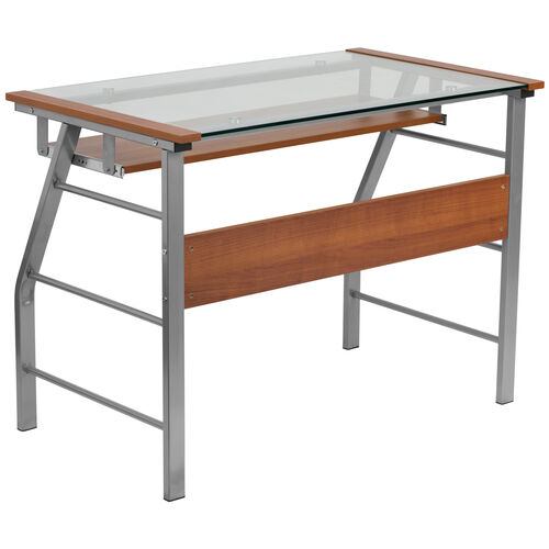 Our Glass Computer Desk with Pull-Out Keyboard Tray and Bowed Front Frame is on sale now.