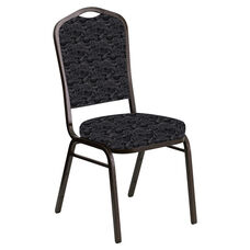 Embroidered Crown Back Banquet Chair in Perplex Ebony Fabric - Gold Vein Frame