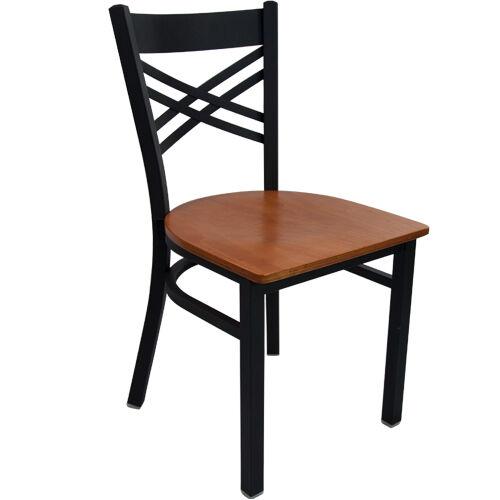 Advantage Black Metal Cross Back Chair - Cherry Wood Seat