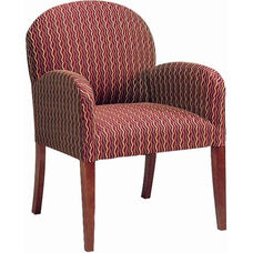 5082 Lounge Chair w/ Upholstered Back, Spring/Tight Seat, and Tapered Wood Legs - Grade 1