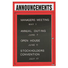 1 Door Indoor Illuminated Enclosed Directory Board with Header and Red Anodized Aluminum Frame - 24