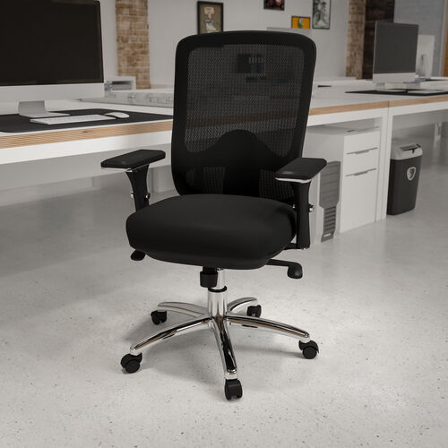 HERCULES Series 24/7 Intensive Use Big & Tall 350 lb. Rated Black Mesh Multifunction Swivel Ergonomic Office Chair