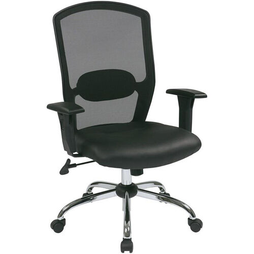 Our Work Smart Screen Back Office Chair with Leather Seat and Chrome Finish Base- Black is on sale now.