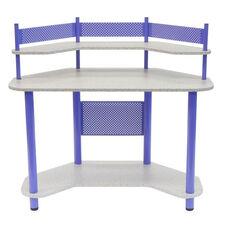 Compact Corner Computer Study Desk - Purple and Splatter Grey