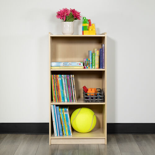 """Wooden 3 Section School Classroom Storage Cabinet for Commercial or Home Use - Safe, Kid Friendly Design - 36""""H (Natural)"""