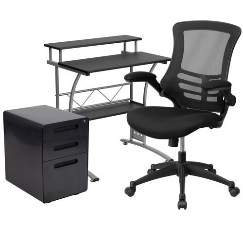 Our Work From Home Kit - Black Computer Desk, Ergonomic Mesh Office Chair and Locking Mobile Filing Cabinet with Inset Handles is on sale now.
