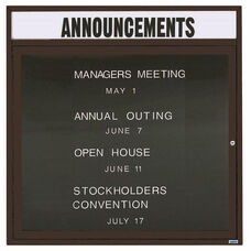 1 Door Outdoor Illuminated Enclosed Directory Board with Header and Black Anodized Aluminum Frame - 36