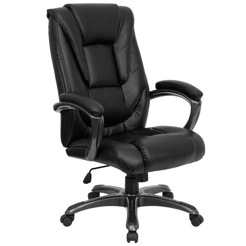Our High Back Black LeatherSoft Layered Upholstered Executive Swivel Ergonomic Office Chair with Smoke Metal Base and Arms is on sale now.