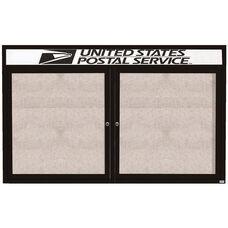 2 Door Outdoor Illuminated Enclosed Bulletin Board with Header and Black Powder Coated Aluminum Frame - 48
