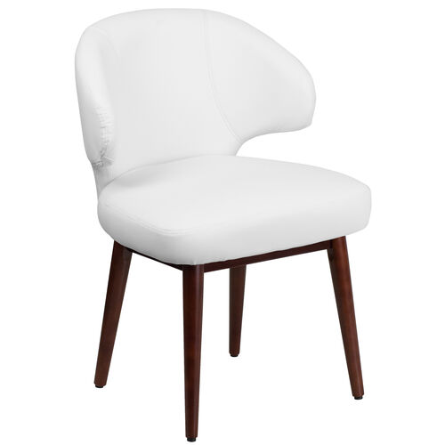 Our Comfort Back Series White Leather Side Reception Chair with Walnut Legs is on sale now.