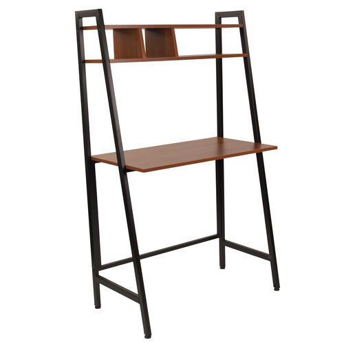 Our Wilmette Cherry Wood Grain Finish Computer Desk with Storage Shelf and Black Metal Frame is on sale now.