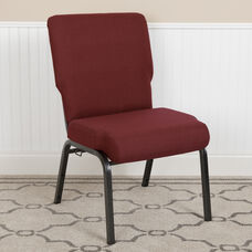 Advantage 20.5 in. Maroon Molded Foam Church Chair with Book Rack