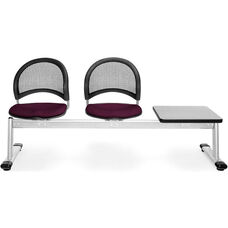 Moon 3-Beam Seating with 2 Burgundy Fabric Seats and 1 Table - Gray Nebula Finish
