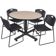 Kobe 48'' Round Laminate Breakroom Table with 4 Zeng Stack Chairs - Beige Table Finish and Black Chairs