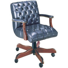 Quick Ship Scoop Traditional Management Swivel Chair with Platform Arms