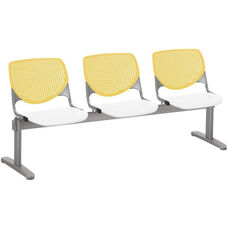 2300 KOOL Series Beam Seating with 3 Poly Yellow Perforated Back Seats and White Seats