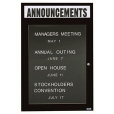 1 Door Indoor Enclosed Directory Board with Header and Black Anodized Aluminum Frame - 48