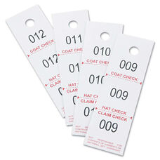 Safco® Three-Part Coat Room Checks - Paper - 1 1/2 x 5 - White - 500/Pack