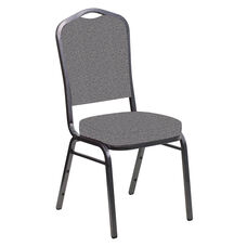 Embroidered Crown Back Banquet Chair in Ribbons Fog Fabric - Silver Vein Frame