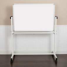 """HERCULES Series 45.25""""W x 54.75""""H Double-Sided Mobile White Board with Pen Tray"""
