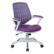 Ave Six Calvin Mesh Office Chair with White Frame and Fabric Padded Seat and Arms - Purple