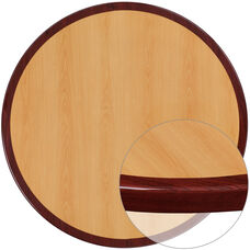 36'' Round 2-Tone High-Gloss Cherry Resin Table Top with 2'' Thick Mahogany Edge