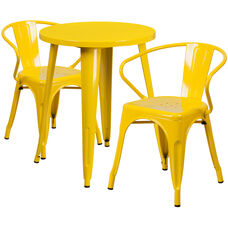 """Commercial Grade 24"""" Round Yellow Metal Indoor-Outdoor Table Set with 2 Arm Chairs"""