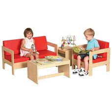 Birch Hardwood 4 Piece Comfort Living Room Set with 2