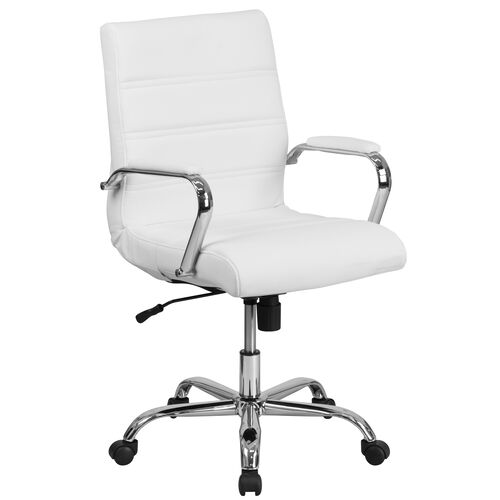 Our Mid-Back White Leather Executive Swivel Office Chair with Chrome Base and Arms is on sale now.