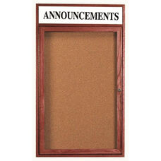 1 Door Enclosed Bulletin Board with Header and Cherry Finish - 48