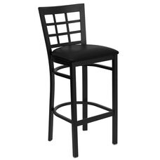 Black Window Back Metal Restaurant Barstool with Black Vinyl Seat