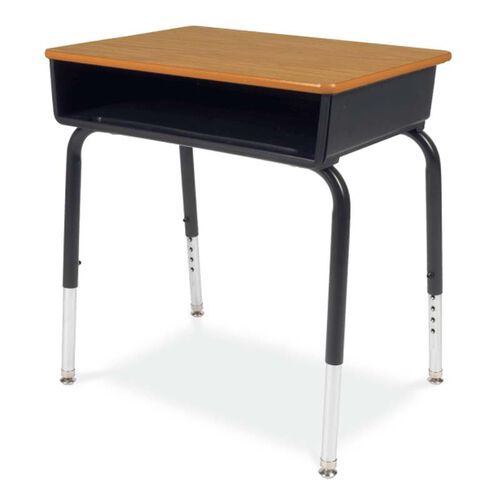 Our Quick Ship 785 Series Medium Oak Laminate Top Student Desk with Black Open Front Plastic Book Box and Frame - 18