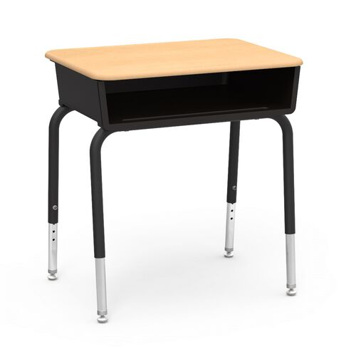 785 Series Hard Plastic Fusion Maple Top Student Desk with Black Open Front Plastic Book Box and Legs - 18